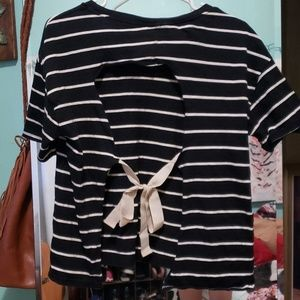 TopShop Open Back w/Bow Striped Tee